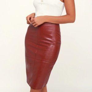 Lulus Wine Red Vegan Leather Pencil Skirt